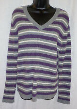 Croft & Barrow Sweater Size M NWT Multi Stripe Nylon Blend V Neck Long Sleeves