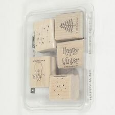 Mounted Wood Rubber Stamps Hallidays Christmas Happy Winter Snowman Set Lot of 5