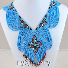 Precious! Hand Seed Bead Beaded Blue Necklace FREE SHIPPING