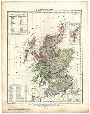 Karte von Schottland von 1848, Grenzkolorierte Lithographie.