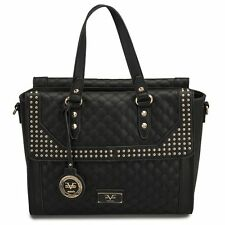 New Versace 19v69 Sportivo Micro Studded Black Quilted Palazzo Tote Handbag