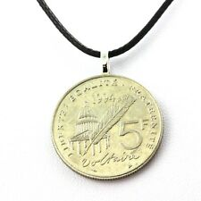 Collier pièce de monnaie France 5 francs Voltaire