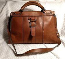 FOSSIL Heirloom Pecan Brown Leather Brass Buckle VRI Revival Satchel Bag