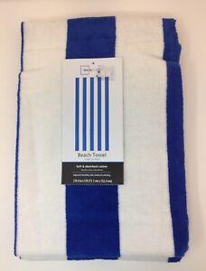 Mainstays Blue Striped Beach Bath Pool Towel New