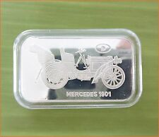 "RARE ! 1 oz .999 Switzerland Silver Bar""MERCEDES 1901 ANTIQUE CAR COLLECTION""C77"