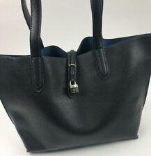 TUTILO Vegan Pebbled Leather Black Blue Tote Bag Handbag Laptop Career