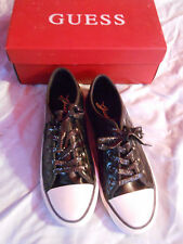 GUESS BLACK  QUILTED SNEAKER LACE UP RUBBER SOLE NEW IN BOX SZ 9.5M