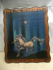 Vintage Unicorn Wall Plaque - Laqured Wood - 1980's Mystical Magical Art