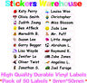 50 Personalised Vinyl Stick On Name Labels Stickers Tags School Kids Nursery