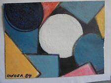 Art Moderne XX Daniel LANDER Gouache Cubiste Signé daté 84- DLG Léger Atlan 7/11
