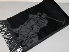 POLO RALPH LAUREN Men's Wool-Blend Big Pony Scarf, Muffler, Italy, BLACK, nwt