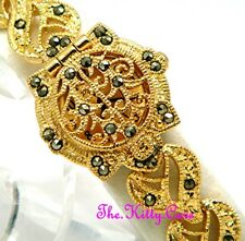 New Gold Vintage Deco Nouveau Rococo Baroque Marcasite Filigree Bracelet Watch