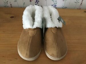 Ladies Fur Lined Faux Lined Ankle High Slippers