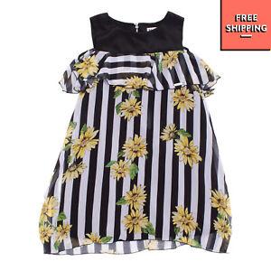 MAELIE By RUBACUORI Crepe Trapeze Dress Size 14Y / XL Striped Floral Ruffle Trim