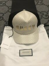 "NEW 100% AUTH GUCCI LAMBSKIN LEATHER ""GUCCY"" STARS BASEBALL HAT CAP SIZE XL"