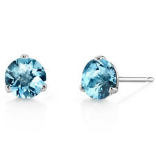 14K White Gold 1.70 Ct Swiss Blue Topaz Stud Earrings Martini 3 Prong Round 6mm