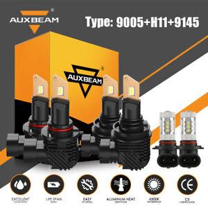 AUXBEAM Combo H11 9005 9145 LED Headlight+Fog Bulb for Dodge Ram 1500 2500 3500