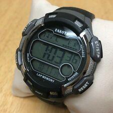 Dakota Mens 100m Silver Black LCD Digital Alarm Chrono Watch Hours~New Battery