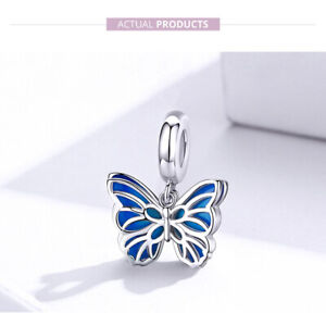 925 Sterling Silver Charms Beads Blue Butterfly Dangle Pendant Fit Bangle VOROCO