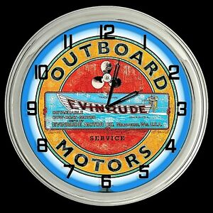"""16"""" Evinrude Outboard Motors Distressed Looking Sign Blue Neon Clock"""