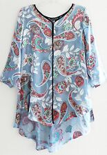 NWT CITRON SANTA MONICA Silk Sheer Chiffon Satin Top Long Blouse Shirt Tunic, S