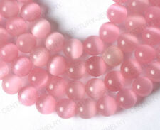 Free ship 20PCS Pink color cat eye round loose beads 6MM