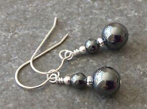 Grey Haematite Gemstone & Sterling Silver Drop Earrings + Gift Box