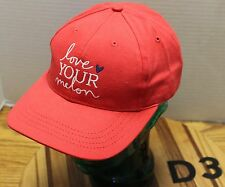 NWOT LOVE YOUR MELON HAT RED EMBROIDERED SCRIPT STRAPBACK USA MADE D3