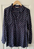 WHITE STUFF NAVY BLUE HOUSE PRINT SHIRT TOP UK 10 / 12