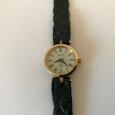 RARE VINTAGE GUCCI 4.85 AUTHENTIC RED GREEN GOLD PLATED QUARTZ LADIES WATCH RUNS