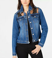 INC Leopard Print Denim Jacket, Size Large Blue Jean NWT Casual Spring Outfit