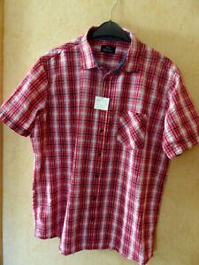 Herren-Kurzarmhemd rot-weiss, Gr. XL 43/44