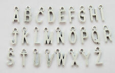 78PCS Assorted of Antiqued Silver Colour alphabet letter charms