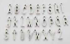 78PCS Assorted of Antiqued Silver Colour alphabet letter charms
