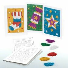 6 GLITTER ART XMAS CARDS DECORATION KITS MAKE YOUR OWN KIDS CRAFT