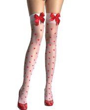 Halterlose Strümpfe mit Herzmuster Strapse Strümpfe Stockings weiss rot 26053