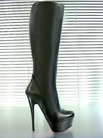 Mori Italy Platform Heels Knee High Boots Stiefel Leather Black Schwarz 44