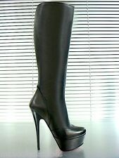 MORI ITALY PLATFORM HEELS KNEE HIGH BOOTS STIEFEL STIVALI LEATHER BLACK NERO 39