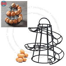 Helter Skelter Spiral 18 Egg Holder Swirl Storage Kitchen Twist Black Stand DCUK