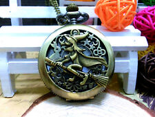 Antique Broom witch bronze vintage charm steampunk palace pocket watch necklace.
