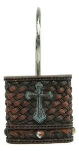 Rustic Turquoise Cross On Faux Weaved Leather Bathroom Shower Curtain Hooks 12pk