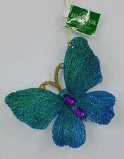 Kurt Adler Blue Green Peacock Glitter Butterfly Christmas Ornament