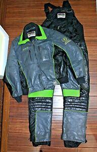 Vintage ARCTIC CAT Arcticwear LEATHER SNOW SUIT JACKET BIBS Pants Gray Black, XL