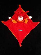 Doudou carré Lutin Clown Fou du Roi Capucin Dragobert rouge orange Moulin Roty
