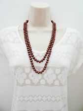 "Beautiful 52"" Long Rope Bead Necklace in Bronze Tone Metallic Burgundy"