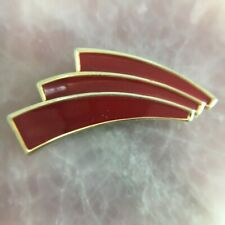 VINTAGE BARCS Red Enamel Arrow Wave Curved Arch Gold Tone Brooch Pin Lapel