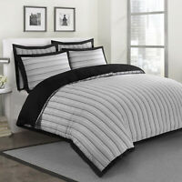 Valletta Luxury Soft Woven Striped 100%Cotton Quilt Duvet Cover Bedding Set Grey
