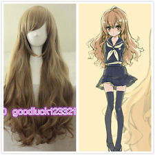 New wig Cosplay Dragon X Tiger/ Aisaka Taiga Long Pale Brown Curly Wigs