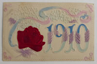 "New Years 1910 Postcard, Embossed Silk Rose/Hand Tinted, 3.5""x 5.5"" USA, Antique"