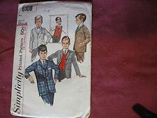 Vintage Simplicity Pattern 6108 Boys Suit Jacket 1965 Sz 4 Chest 23 Dress Casual